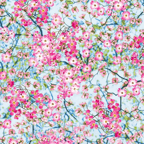 Timeless Treasures Flower Farm Flowery Blossom Sky Pink Blue 100% Cotton (TT Flowery Sky)