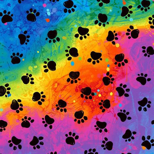 Timeless Treasures Cat Paw Prints on Rainbow 100% Cotton Remnant (23 x 112cm TT Rainbow Cat Paw Prints)