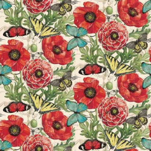 Springs Creative Poppies & Butterflies Vintage Cream 100% Cotton (SC Poppies & Butterflies 1)