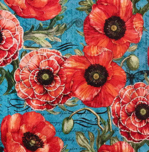 Springs Creative Poppies Vintage Blue 100% Cotton (SC Poppies & Butterflies 2)