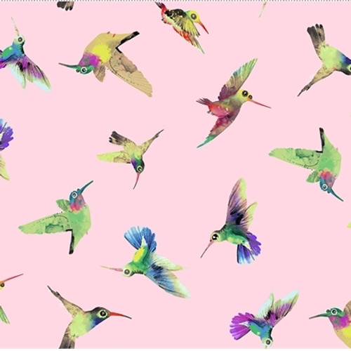 Clothworks Flower Talk Hummingbirds Pink 100% Cotton (CW Flower Talk 1)