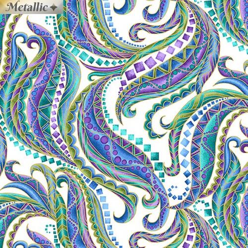 Benartex Horsen Around Mane Swirls Metallic White 100% Cotton Remnant (64 x 112cm Horsen Around 5)