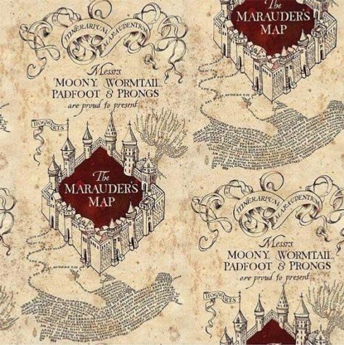 Harry Potter Marauders Map Cream 100% Cotton Remnant (64 x 110cm Harry Potter 1)