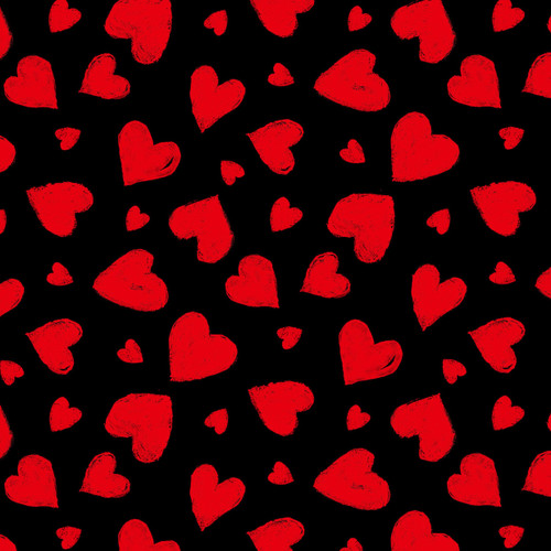 Timeless Treasures Chalkboard Red Hearts 100% Cotton Remnant (60 x 112cm TT Red Hearts)