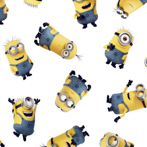 Digital Minions Despicable Me Tossed White 100% Cotton Remnant (77 x 150cm Minions)
