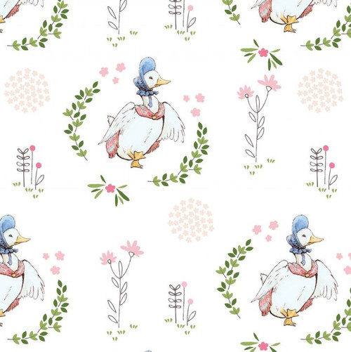 Jemima Puddleduck White 100% Cotton Remnant (70 x 110cm Peter Rabbit 7)