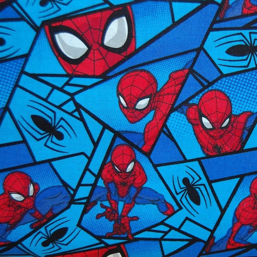 Marvel Comics Spiderman Classic Web Blue 100% Cotton Remnant (58 x 110cm Spiderman 1)