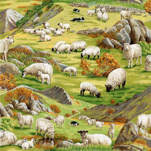 Sheep & Field Scenic Green 100% Cotton Remnant (54 x 112cm In the country Sheep)