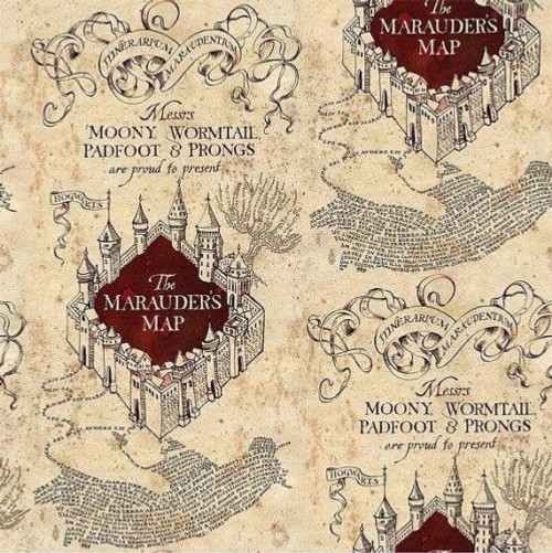 Harry Potter Marauders Map Cream 100% Cotton Remnant (60 x 110cm Harry Potter 1)