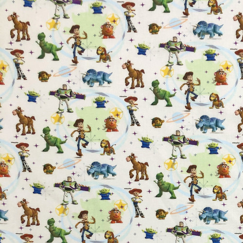 Disney Toy Story Characters Beige 100% Cotton Remnant (30 x 140cm Toy Story 12)