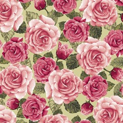 Quilting Treasures Rose Garden Packed Roses Light Moss Green 100% Cotton Remnant (31 x 110cm QT Rose Garden 2)
