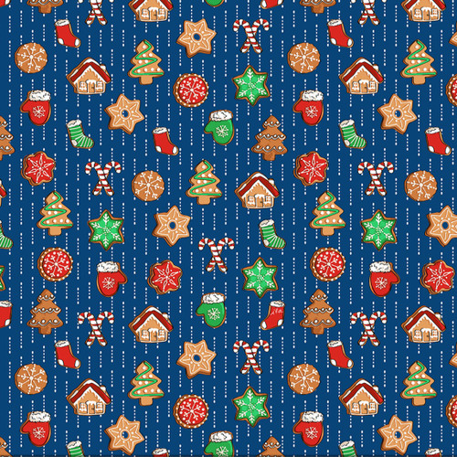 Quilting Treasures Sweater Weather Christmas Cookies Navy 100% Cotton (QT Sweater Weather 1)