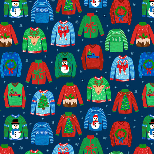 Quilting Treasures Sweater Weather Christmas Jumpers Navy 100% Cotton (QT Sweater Weather 2)
