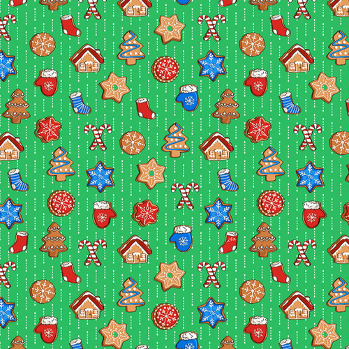 Quilting Treasures Sweater Weather Christmas Cookies Green 100% Cotton (QT Sweater Weather 5)