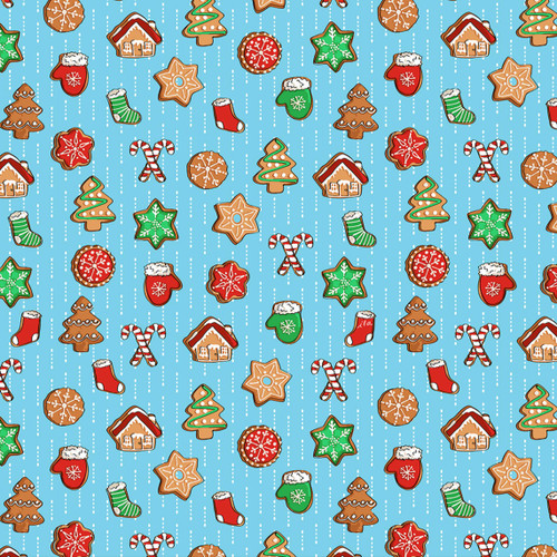 Quilting Treasures Sweater Weather Christmas Cookies Blue 100% Cotton (QT Sweater Weather 6)
