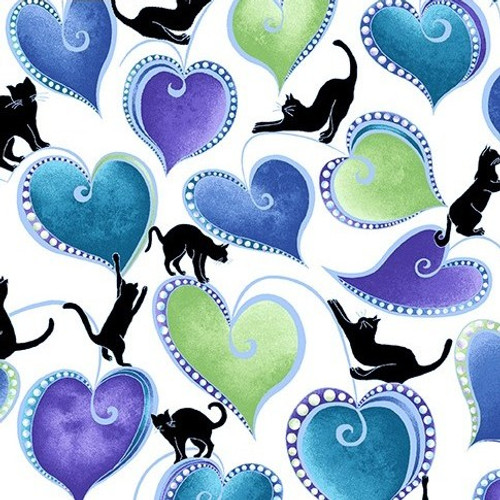 Benartex Cat-I-Tude Singing The Blues Pearlescent Hearts And Cats White 100% Cotton (Cat-I-Tude Singing The Blues 7)