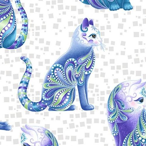 Benartex Cat-I-Tude Singing The Blues Pearlescent Artist-O-Cats White 100% Cotton (Cat-I-Tude Singing The Blues 11)