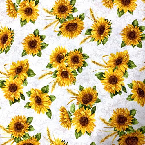 Benartex Accent On Sunflowers Sunflower Meadow Linen 100% Cotton (Benartex Accent On Sunflowers 2)