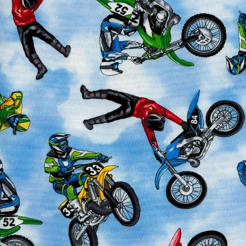 Timeless Treasures Speed Dirt Bikes Motocross Sky Blue 100% Cotton (TT Dirt Bikes)