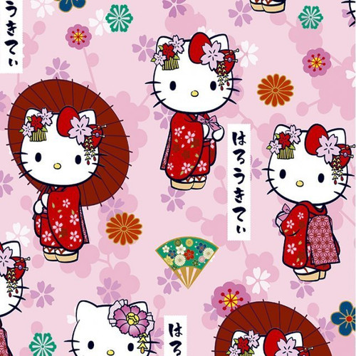 Digital Hello Kitty Kawaii Pink 100% Cotton (Hello Kitty 3)