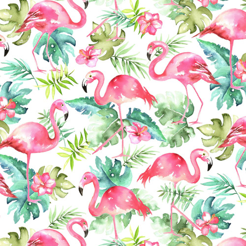 Timeless Treasures Rainforest Flamingos With Tropical Leaves 100% Cotton Remnant (73 x 112cm TT Rainforest Flamingos)