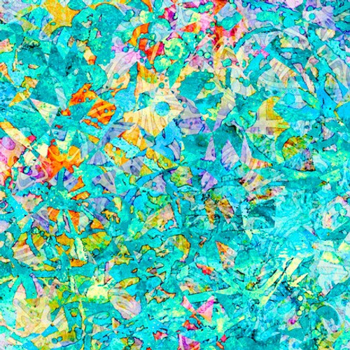 Quilting Treasures Illuminations Evolution Turquoise 100% Cotton Remnant (50 x 110cm QT Illuminations 5)
