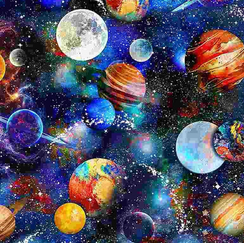 Timeless Treasures Math & Science Funky Outerspace Multicoloured  100% Cotton Remnant (65 x 112cm TT Funky Outerspace)