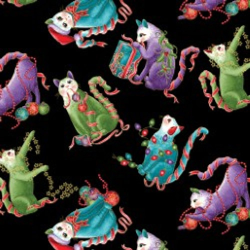 Benartex Cat-I-tude Christmas LARGE Black Artist-O-Cats Metallic 100% Cotton Remnant (46 x 112cm Cat-I-tude Christmas 4)