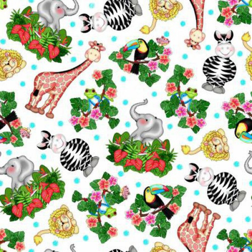 Springs Creative Cute Zoo Animals 100% Cotton Remnant (64 x 112cm SC Bazoople 1)
