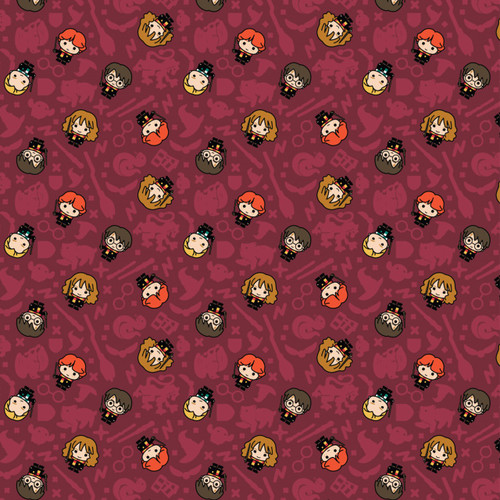 Harry Potter Wizarding World Kawaii Rookie Wizards Burgundy 100% Cotton Remnant (62 x 110cm Harry Potter 29)