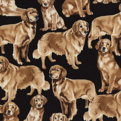 Timeless Treasures Golden Retriever Dog 100% Cotton Remnant (36cm x 112cm TT Golden Retriever)