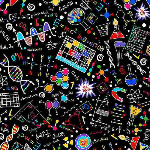 Timeless Treasures Math & Science Bright Science Doodles Black 100% Cotton Remnant (49 x 112cm TT Science Doodles)