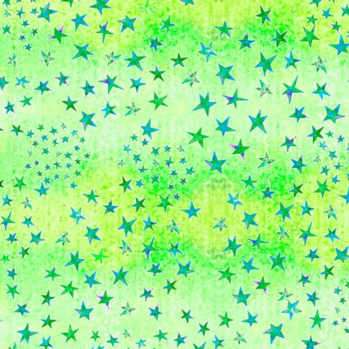 Quilting Treasures Dream Big Stars Green 100% Cotton Remnant (44 x 110cm QT Dream Big 2)