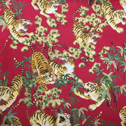 Metallic Japanese Tiger Red 100% Cotton Remnant (58x 112cm Japanese Metallic Tiger Red)