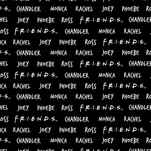 Friends 25th Anniversary Names Black 100% Cotton (Friends Names)