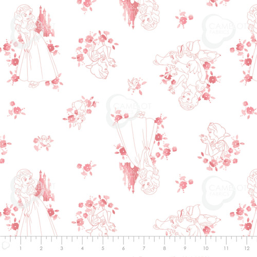 Disney Snow White Pink Silhouette White 100% Cotton Remnant (49 x 110cm) Snow White 3)