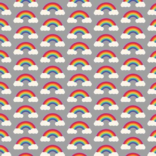 Chatham Glyn Rainbow Arches & Clouds Multicoloured Grey 100% Cotton Remnant (47 x 140cm CG Rainbow 4)