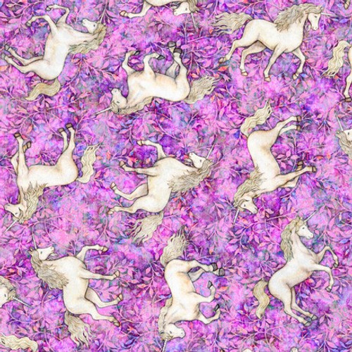 Quilting Treasures Mystical Unicorns Pink 100% Cotton Remnant (64 x 110cm QT Mystical 3)