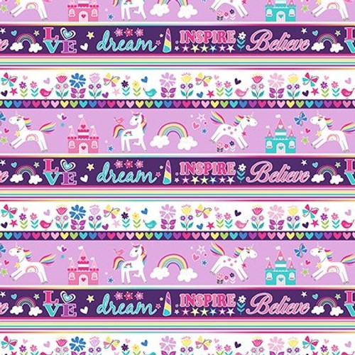 Kanvas Studio Unicorn Magic Stripe Pearlescent Multicoloured Purple 100% Cotton (KS Unicorn Magic 3)