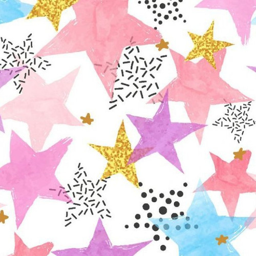 Digital Multi Coloured Stars White 100% Cotton Remnant (51 x 150cm Multi Stars)