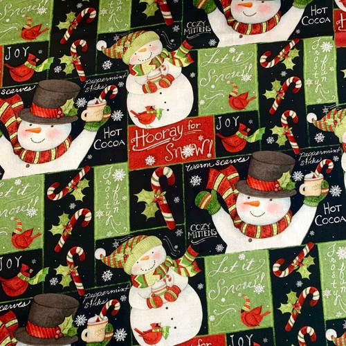 Springs Creative Holiday Patchwork Snowmen 100% Cotton (SC Jolly Snowmen)