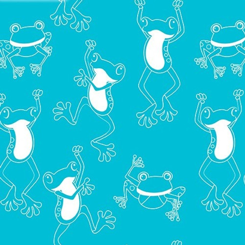Kanvas Studio Toadally Cool Hop To It Turquoise GLOW IN THE DARK 100% Cotton (KS Toadally Cool 3)