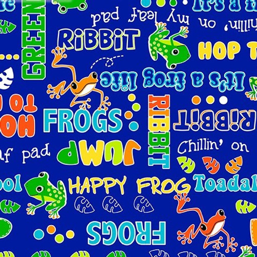 Kanvas Studio Toadally Cool Say Ribbit Royal Blue GLOW IN THE DARK 100% Cotton (KS Toadally Cool 4)