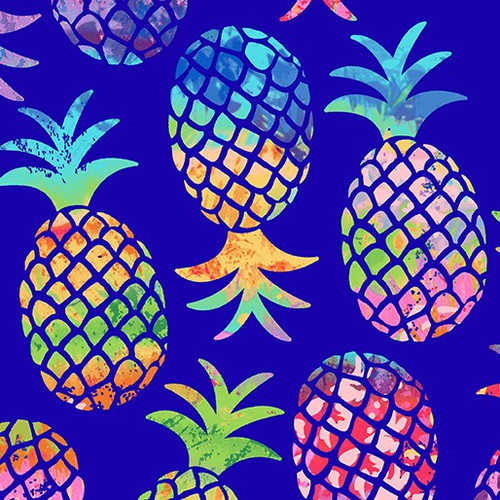 Kanvas Studio Tropical Breeze Pineapple Paradise Multicoloured Blue 100% Cotton (KS Tropical Breeze 8)