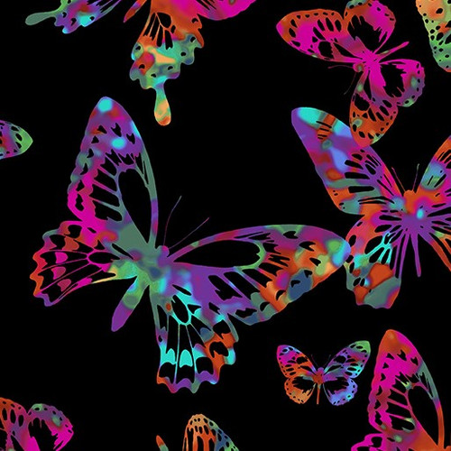 Kanvas Studio Tropical Breeze Aloha Butterflies Multicoloured Black 100% Cotton (KS Tropical Breeze 12)