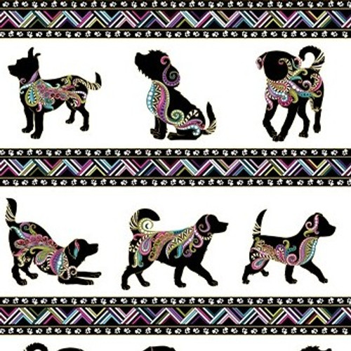 Benartex Dog On It Metallic Dog Walk Stripe White 100% Cotton (Benartex Dog On It 10)