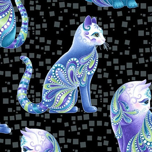 Benartex Cat-I-Tude Singing The Blues Pearlescent Artist-O-Cats Black 100% Cotton Remnant (50 x 112cm Cat-I-Tude Singing The Blues 10)