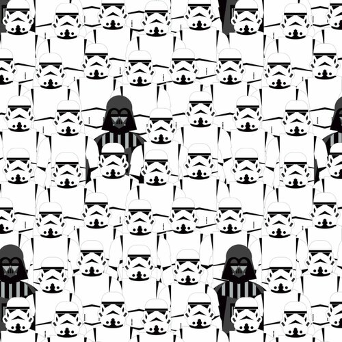Star Wars Storm Troopers & Darth Vader Stacked White 100% Cotton (Star Wars 31)