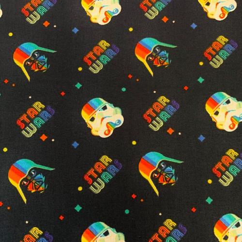 Star Wars Rainbow Logo and Heads Dark Navy 100% Cotton (Star Wars 32)