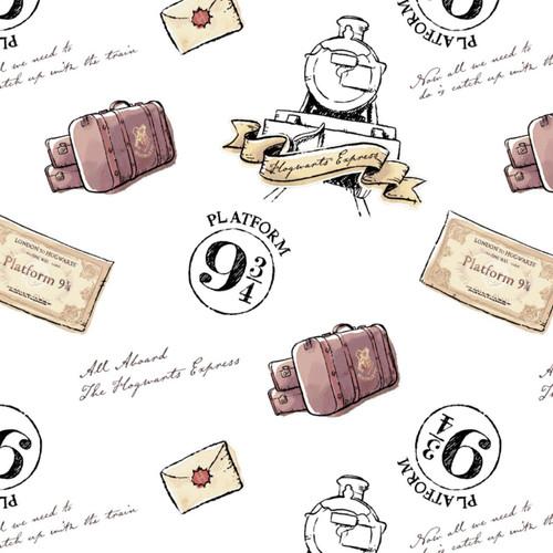 Harry Potter Soft Wash Train Hogwarts Express Icons White 100% Cotton (Harry Potter 31)